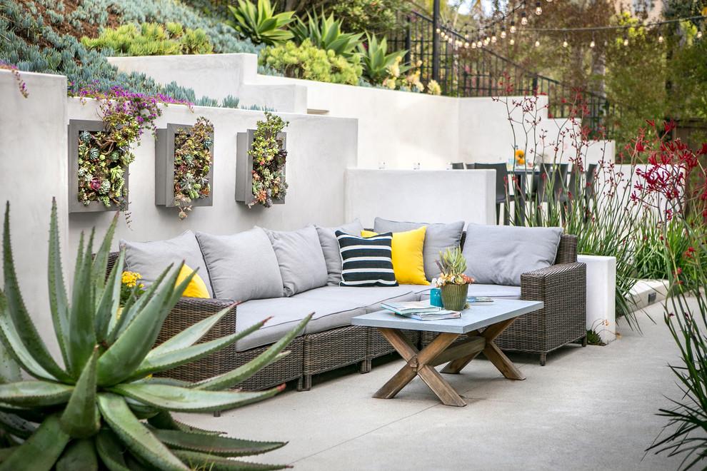 Trendy concrete paver patio vertical garden photo in San Diego