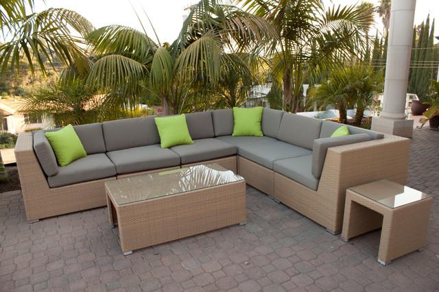 Beau Honey Wicker Outdoor Sofa Sectional Set Modern Patio