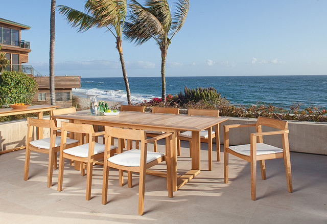 Horizon 9 pc Teak Dining Set contemporary-patio-furniture-and-outdoor-furniture