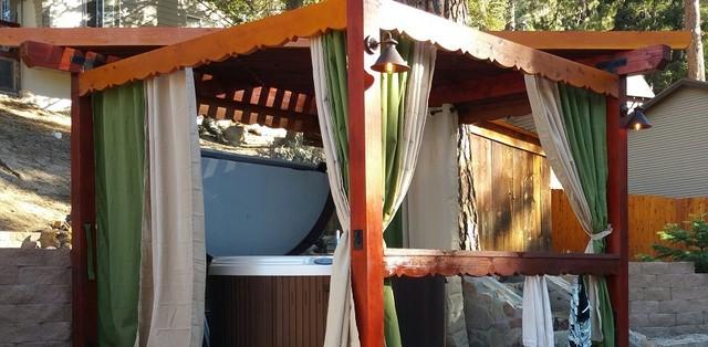 Hot Tub Hut Privacy Curtains - Rustic - Patio - Los ...