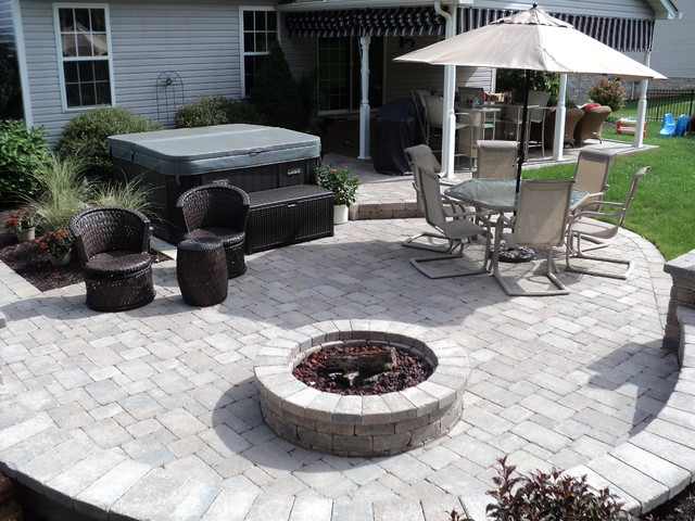 Hot Tub Patio With Fire Pit Area, Fire Pit Patios