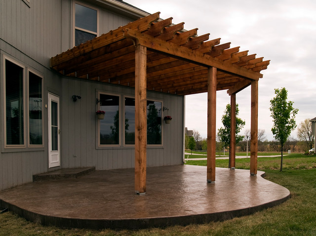 House Cedar Pergola With Stamped Concrete Patio