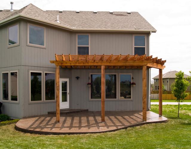 House   Cedar Pergola With Stamped Concrete Patio. Traditional Patio