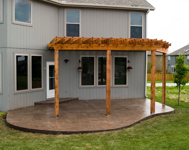 house cedar pergola with stamped concrete patio. Black Bedroom Furniture Sets. Home Design Ideas