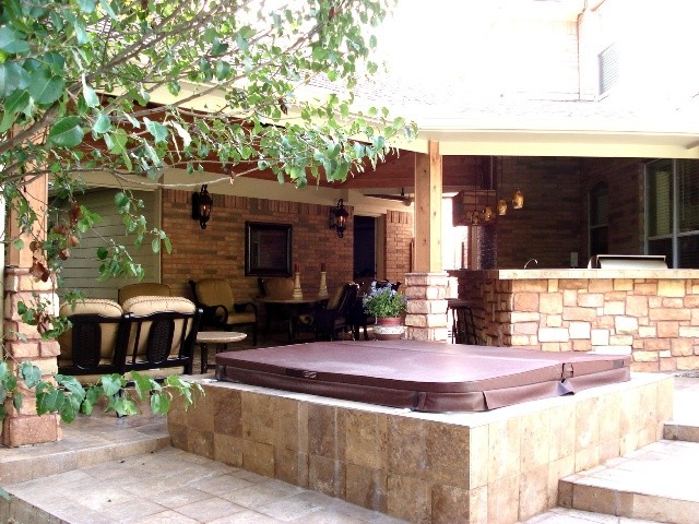 Houston covered patio with outdoor bar fire pit and for Rustic covered decks