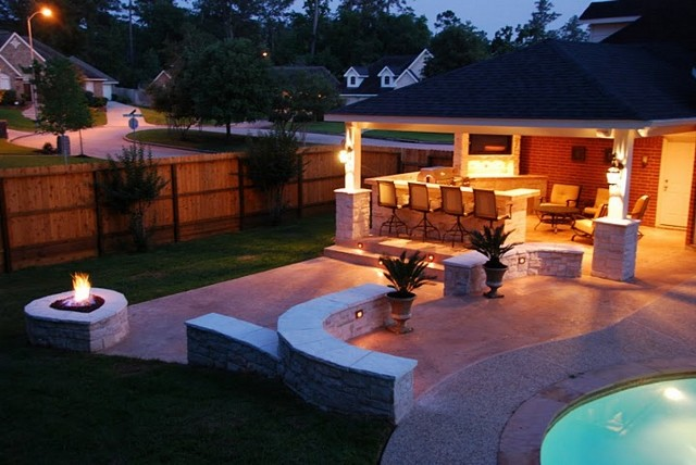Houston outdoor kitchen media room and bar with firepit contemporary patio
