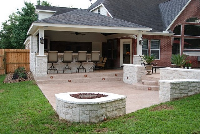 Houston Outdoor Kitchen, Media Room And Bar With Firepit Contemporary Patio