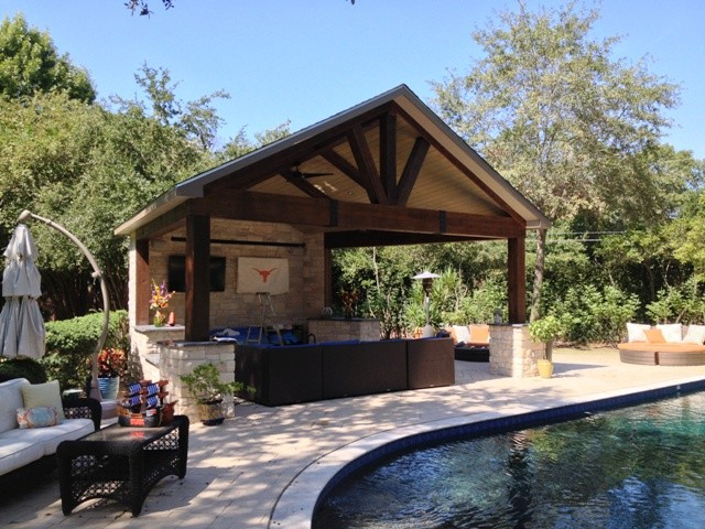 Houston poolside cabana with timberframe construction - Covered outdoor living spaces ...