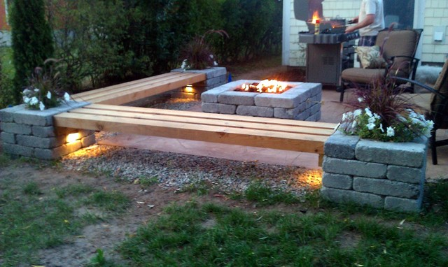 Hull Patio, Pergola, Propane Fire Pit, Custom Benches, Pillar Planters,  Lighting