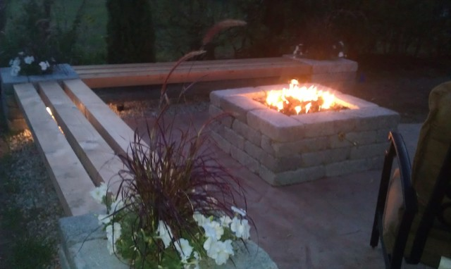 Hull Patio Pergola Propane Fire Pit Custom Benches