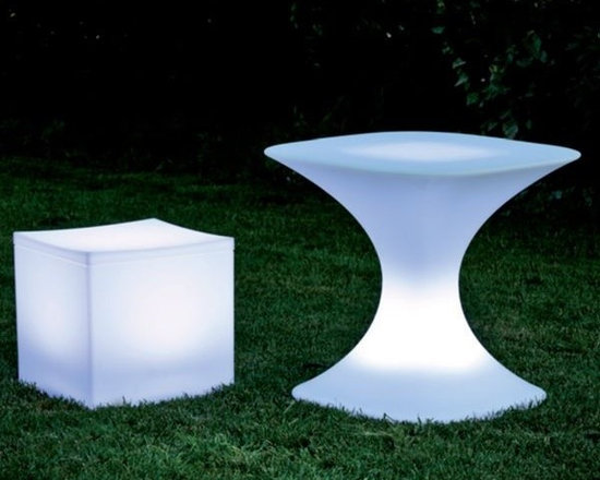 Illuminated Lounge Cube and Table - The illuminated Lounge and Milo table will rotate through several colors or can be set onto one color only.