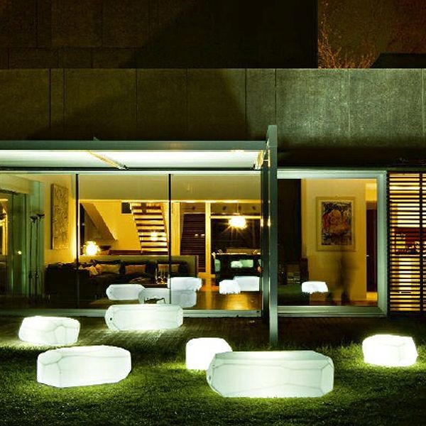 Illuminated Outdoor Furniture Contemporary Courtyard