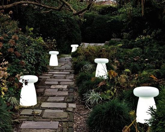 Illuminated Outdoor Stool - Lighted indoor-outdoor stool.