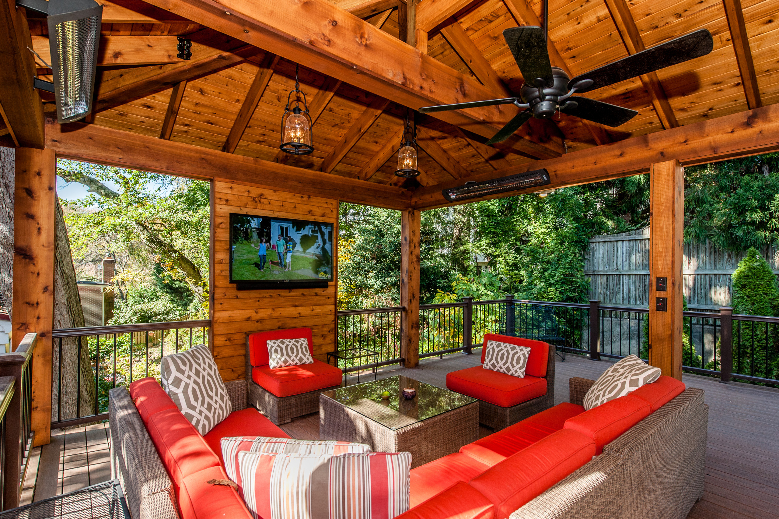 Imagine the possibilities! Your very own outdoor TV room.