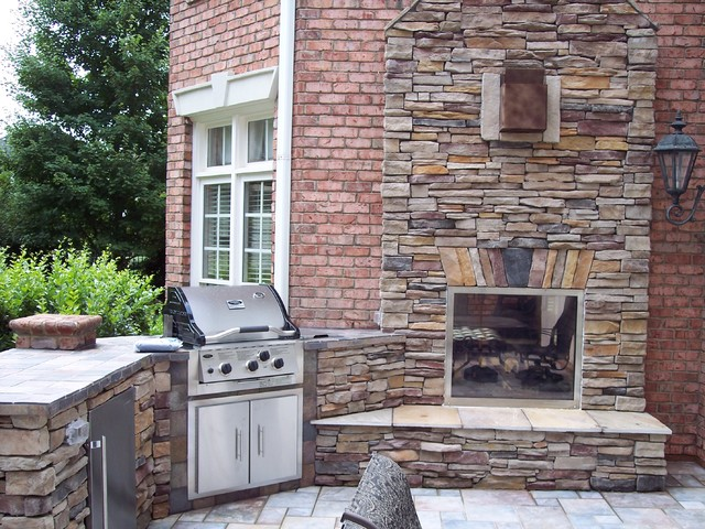 Indoor Outdoor Fireplace Traditional Patio Charlotte