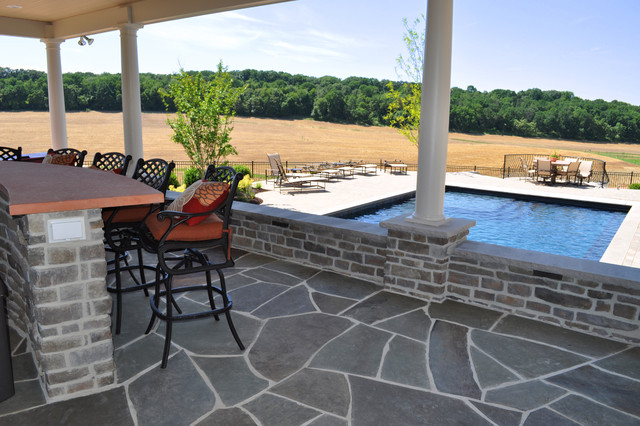 Interior Of Open Air Pool House With Flagstone Floor Traditional Patio Dc Metro By