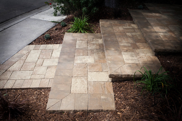 interlocking pavers steps mediterranean patio orange