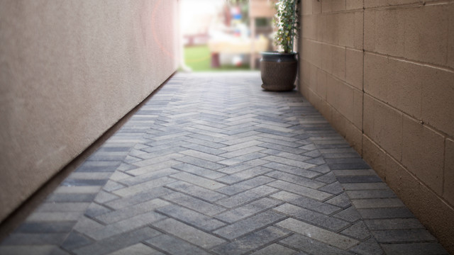 Interlocking Pavers Walkway Modern Patio Orange