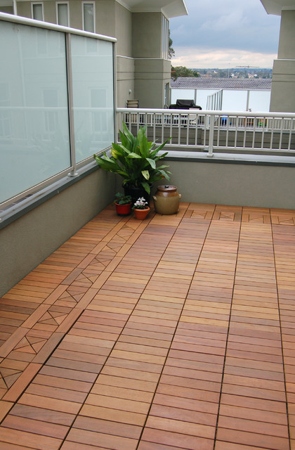 Ipe Wood Deck Tiles On A Small Condo