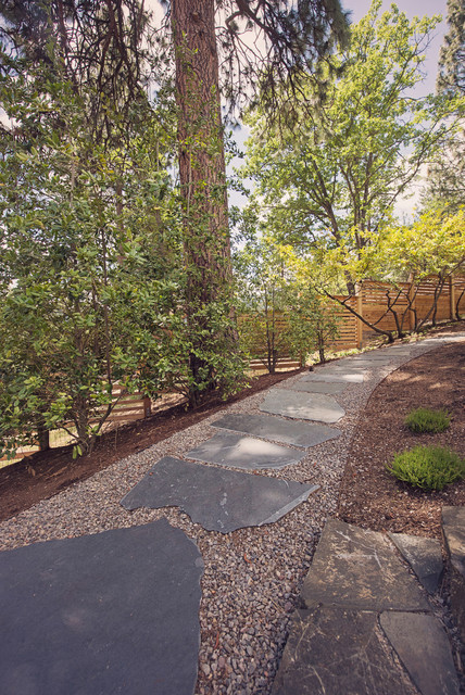 Landscape Edging Rustic : Iron mountain flagstone gravel walkway with steel edging rustic landscape other metro