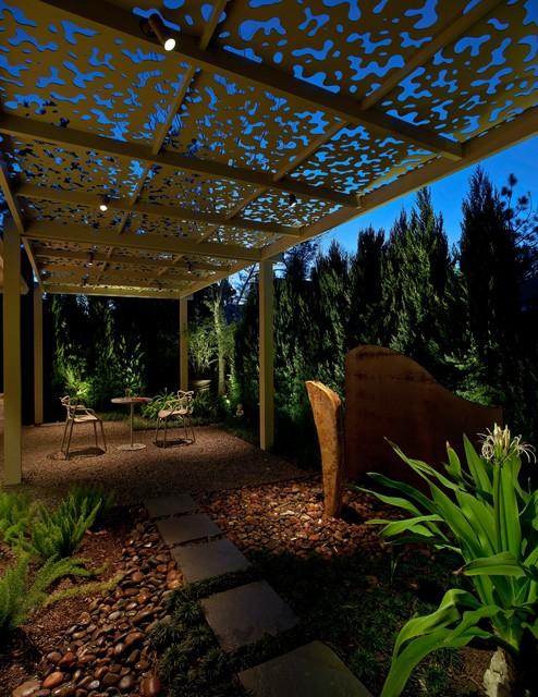 Iron Shade Arbor Contemporary Patio Houston By