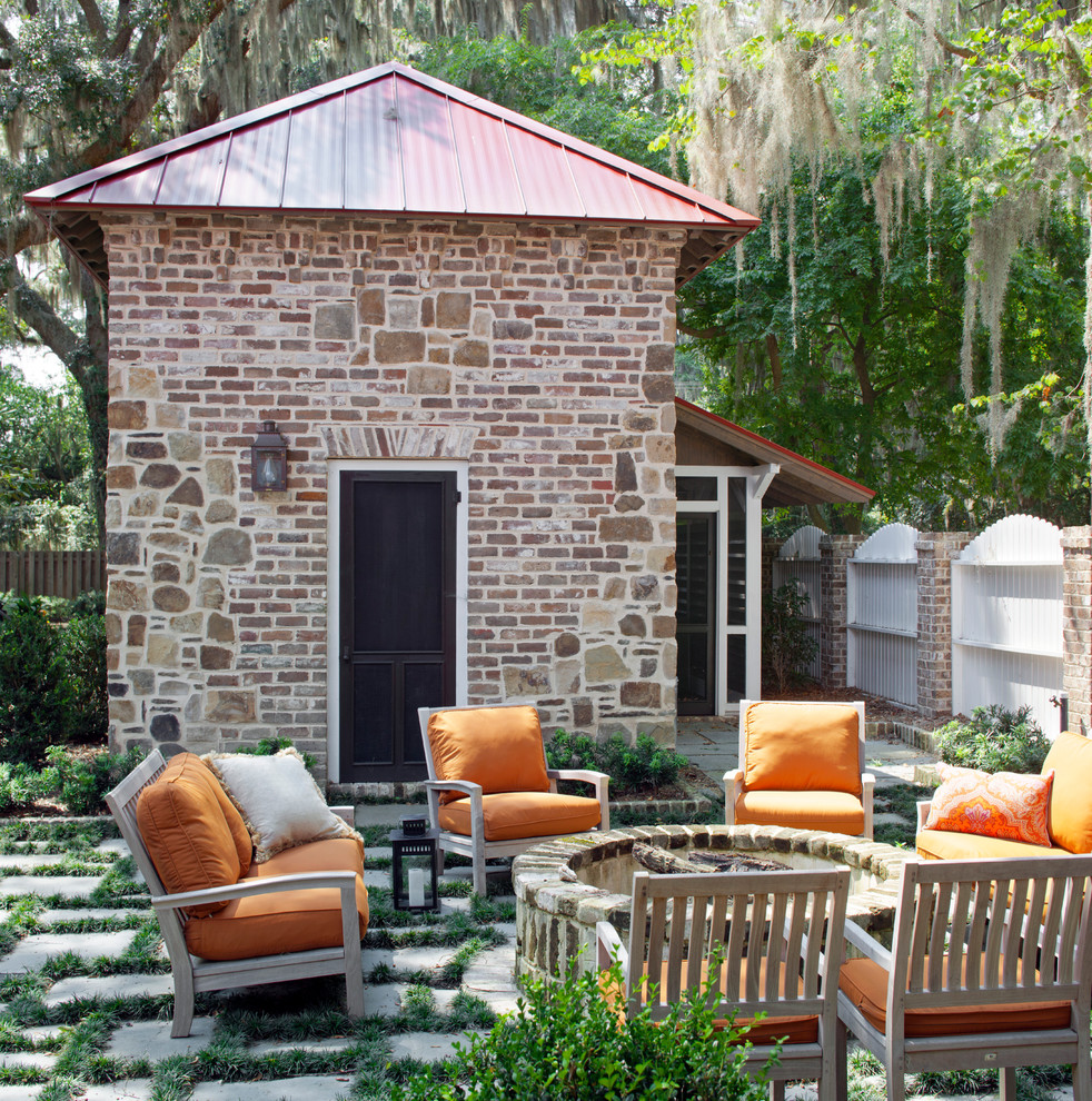 Inspiration for a timeless patio remodel in Atlanta with a fire pit