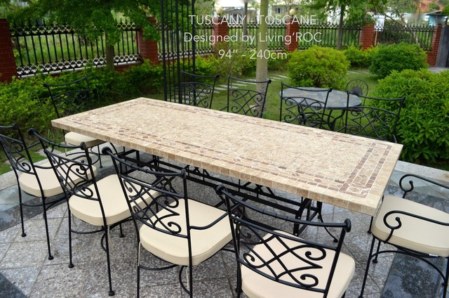 Italian Mosaic Marble Patio Garden Table Tuscany
