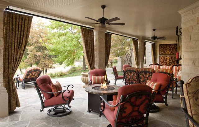 Outdoor Patio Rooms lakeside outdoor living room - mediterranean - patio - dallas -