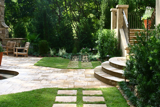 Italian villa traditional patio atlanta by bennett for Landscape villa design