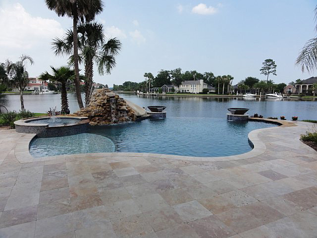 Ivory Swirl Travertine Pavers tropical patio