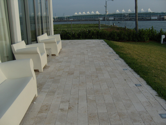 Ivory Travertine Deck Tiles And Pavers Modern Patio Miami By