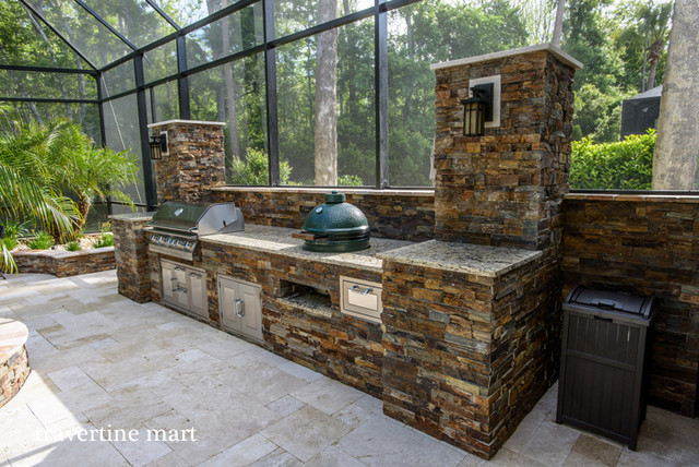 Ivory Travertine Pool Deck Tiles and Pavers traditional-patio