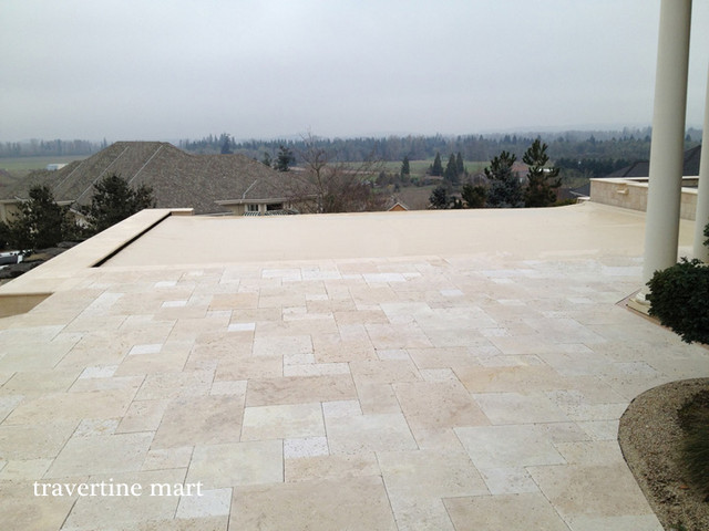 Ivory Travertine Pool Tile And Pavers Traditional Patio Richmond By Mart