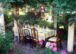 Elegant outdoor dining table setting.