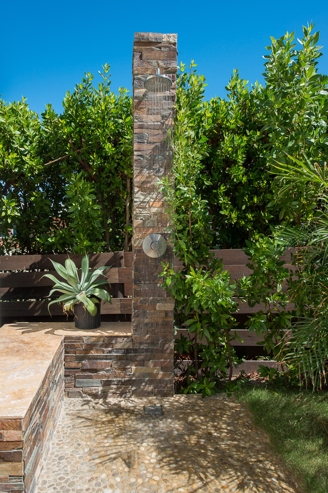 Outdoor patio shower - tropical outdoor patio shower idea in Other with no cover