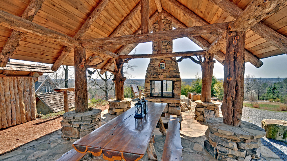 Mountain style patio photo in Atlanta with a fire pit