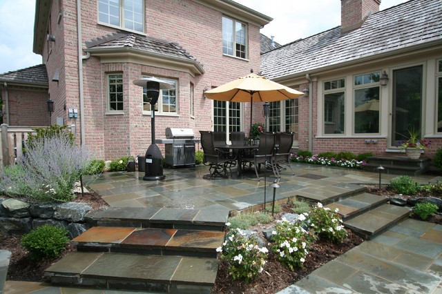 Lake Forest Il Blue Stone Patio With Fire Pit Traditional Patio