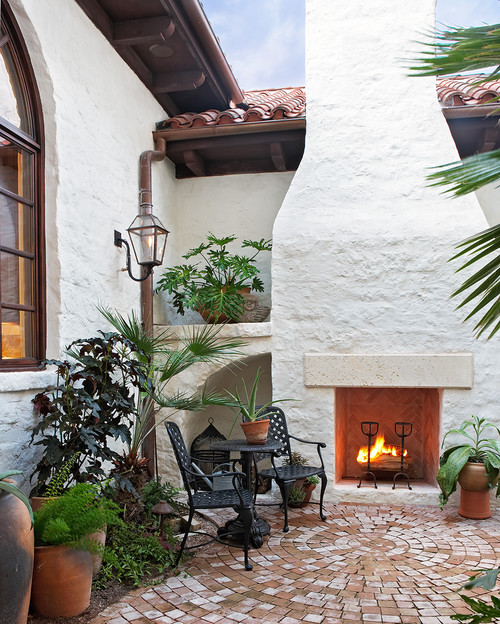 Mediterranean Style Patio: McLean's Spanish Colonial Home: Fireplace