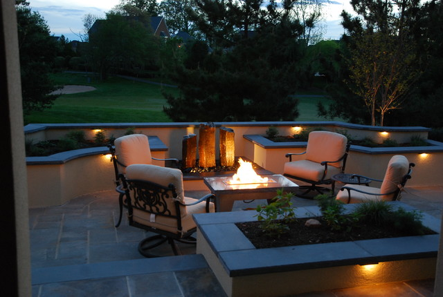 Flagstone Patio with Fire Table & Water Feature modern-patio
