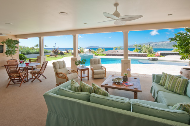 Lanai - Beach Style - Patio - Hawaii - by Archipelago Hawaii Luxury Home Designs