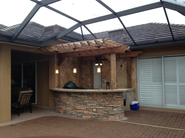 Land O Lakes Fl Rustic Patio Tampa By Outdoor Kitchen Pool Pavers