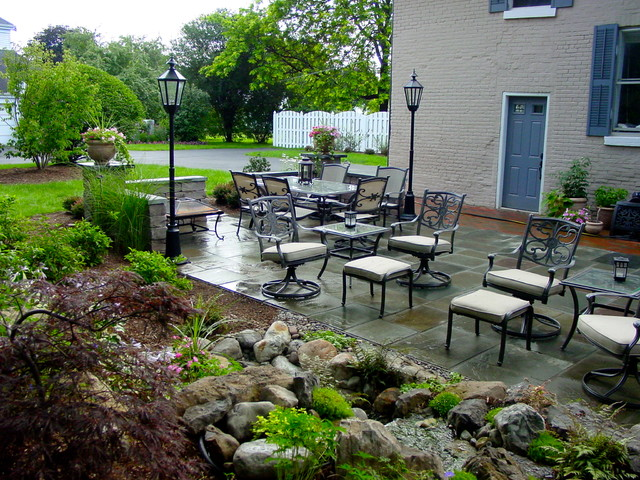 Lovely Landscape Design With Stone U0026 Brick Patio, Pondless Waterfall, Led Lighting  Traditional Patio