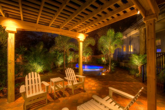 Landscape Lighting With Pergola Traditional Patio Tampa By Landscape Fusion