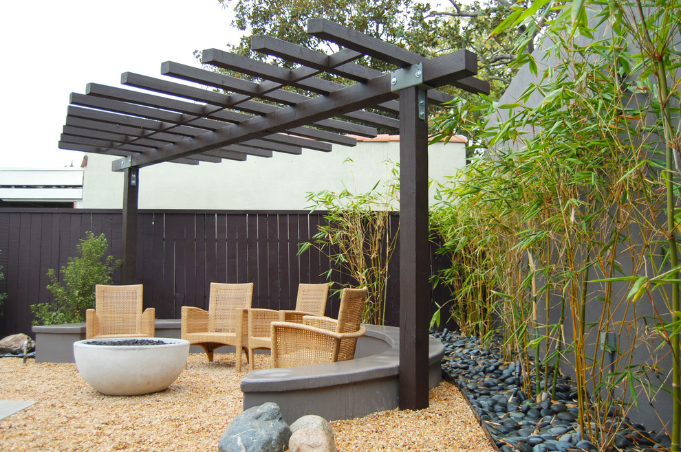 Mid-sized asian backyard gravel patio photo in Los Angeles with a fire pit