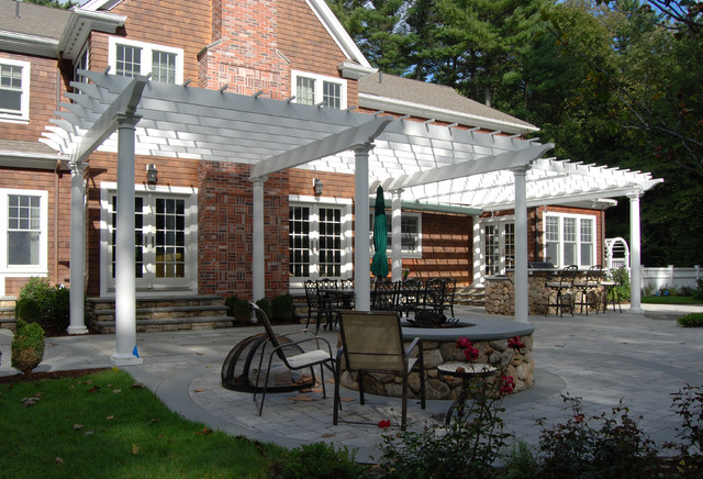 Large Attached Cellular Pvc Pergola With Canopy