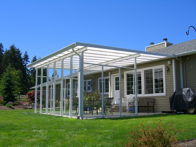 Large Shed Style Patio Cover W Gl Wind Walls On The Farmfarmhouse Seattle