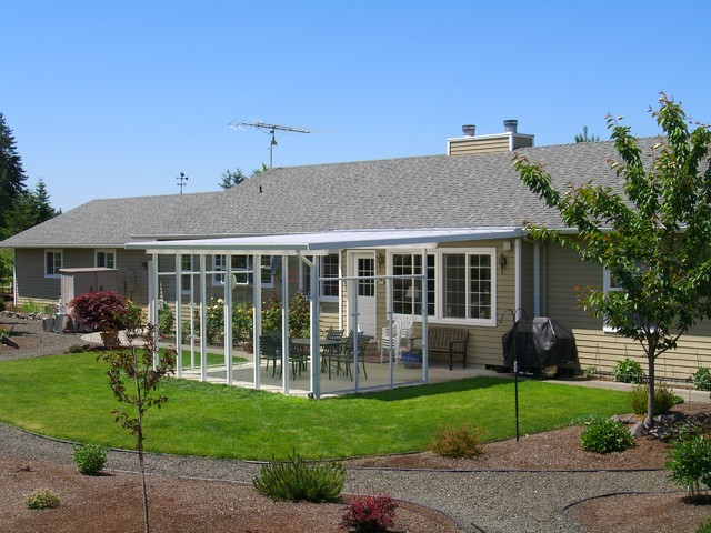 Large Shed Style Patio Cover W/ Glass Wind Walls On The Farm Farmhouse Patio