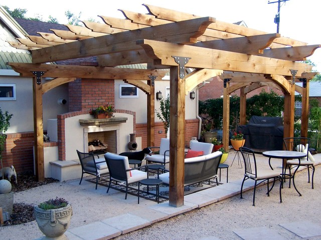 Large timber cedar pergola craftsman patio denver for Large patio design ideas