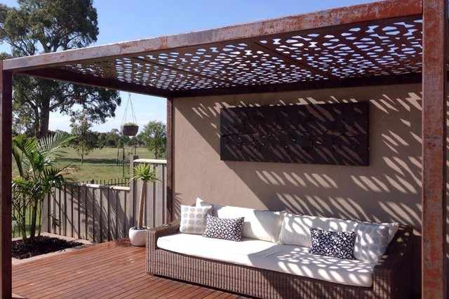 laser cut metal pergolas eclectic patio melbourne. Black Bedroom Furniture Sets. Home Design Ideas