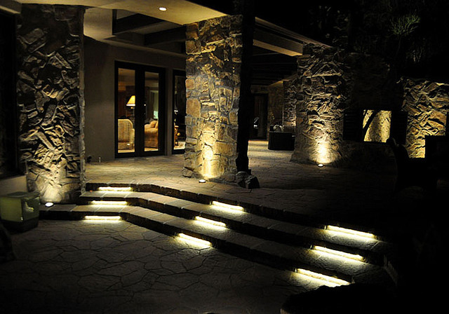led stone patio and stair lighting contemporary patio
